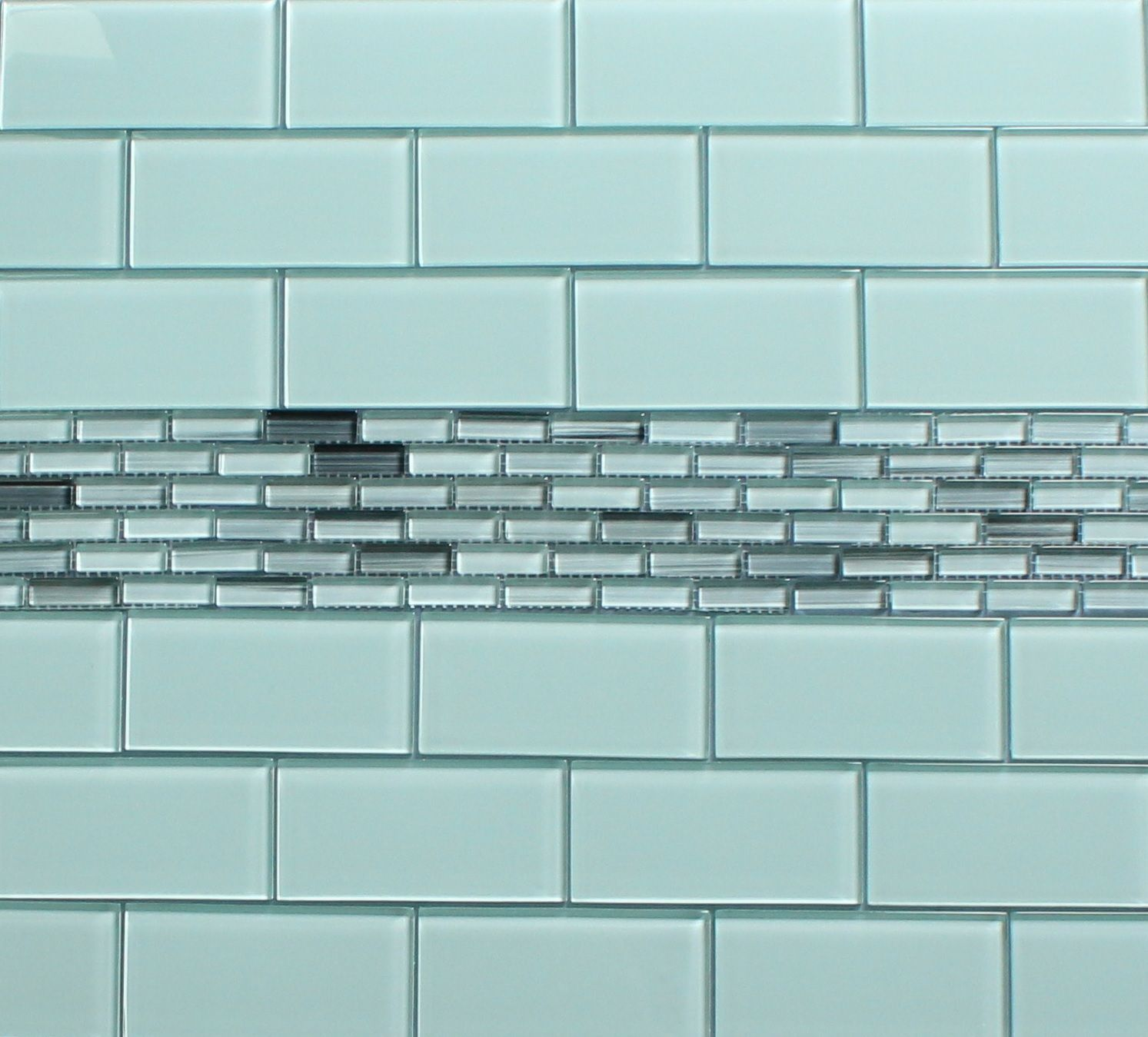 5 Phenomenal Bathroom Tile Combinations: Surfz Up Hand Painted Glass Mosaic Subway Tiles