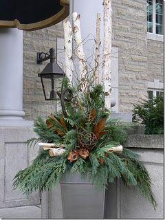 Christmas Planters For Front Porch.Front Porch Arrangement Mix Birch Logs Pinecones Magnolia