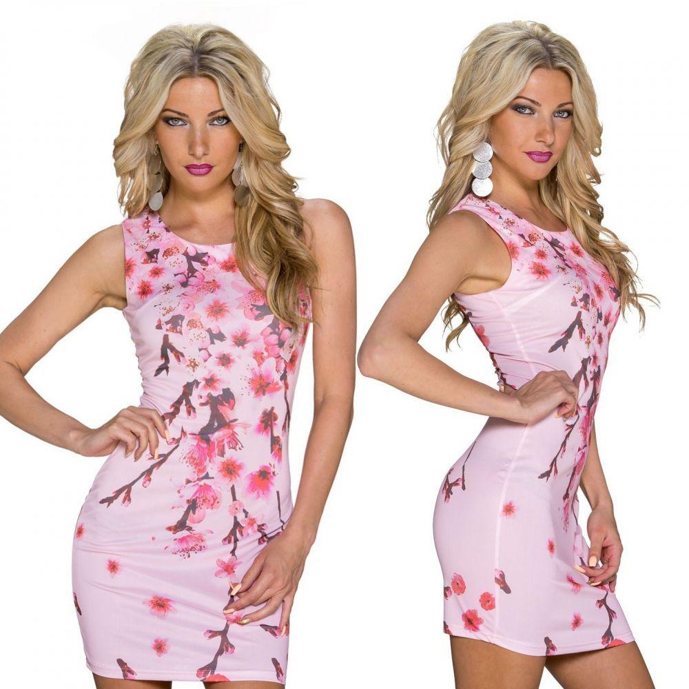 Rózsaszín virágos ujjatlan ruha - Női ruha webáruház 4dedd8efe6