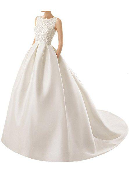 Milano Bride Exquisit Einfach Hochzeitskleider Brautkleider Brautmode  Ballkleider Damen mit Spitze Applikation Schleppe32-Elfenbein -  hochzeitsklei…