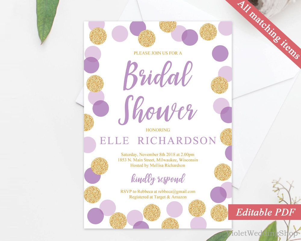 Purple And Gold Bridal Shower Invitation Template Printable Bridal