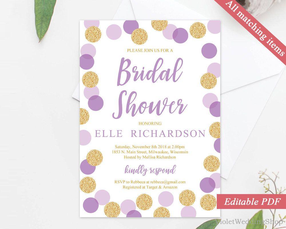 Purple And Gold Bridal Shower Invitation Template Printable Bridal - Purple bridal shower invitations templates