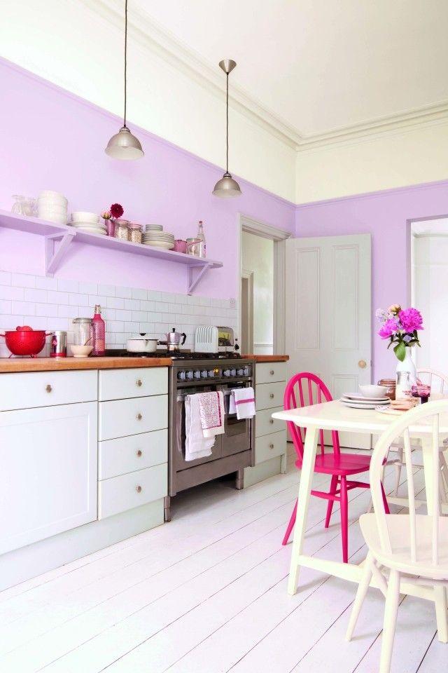 Küche Streichen Ideen Flieder Farbe Modulküche