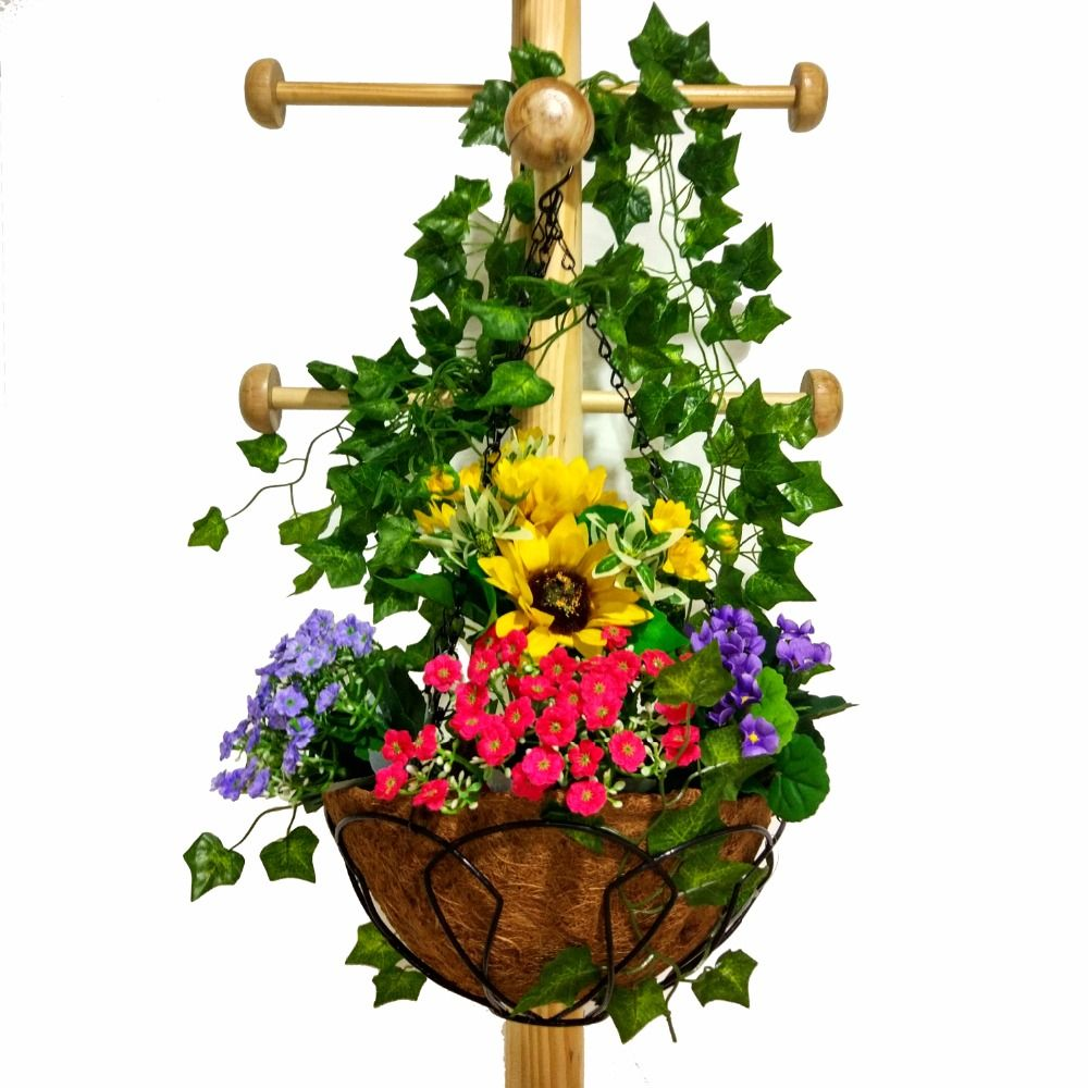 Garden Hanging Basket Pot Wall Straw Braid Flower Basket Garden