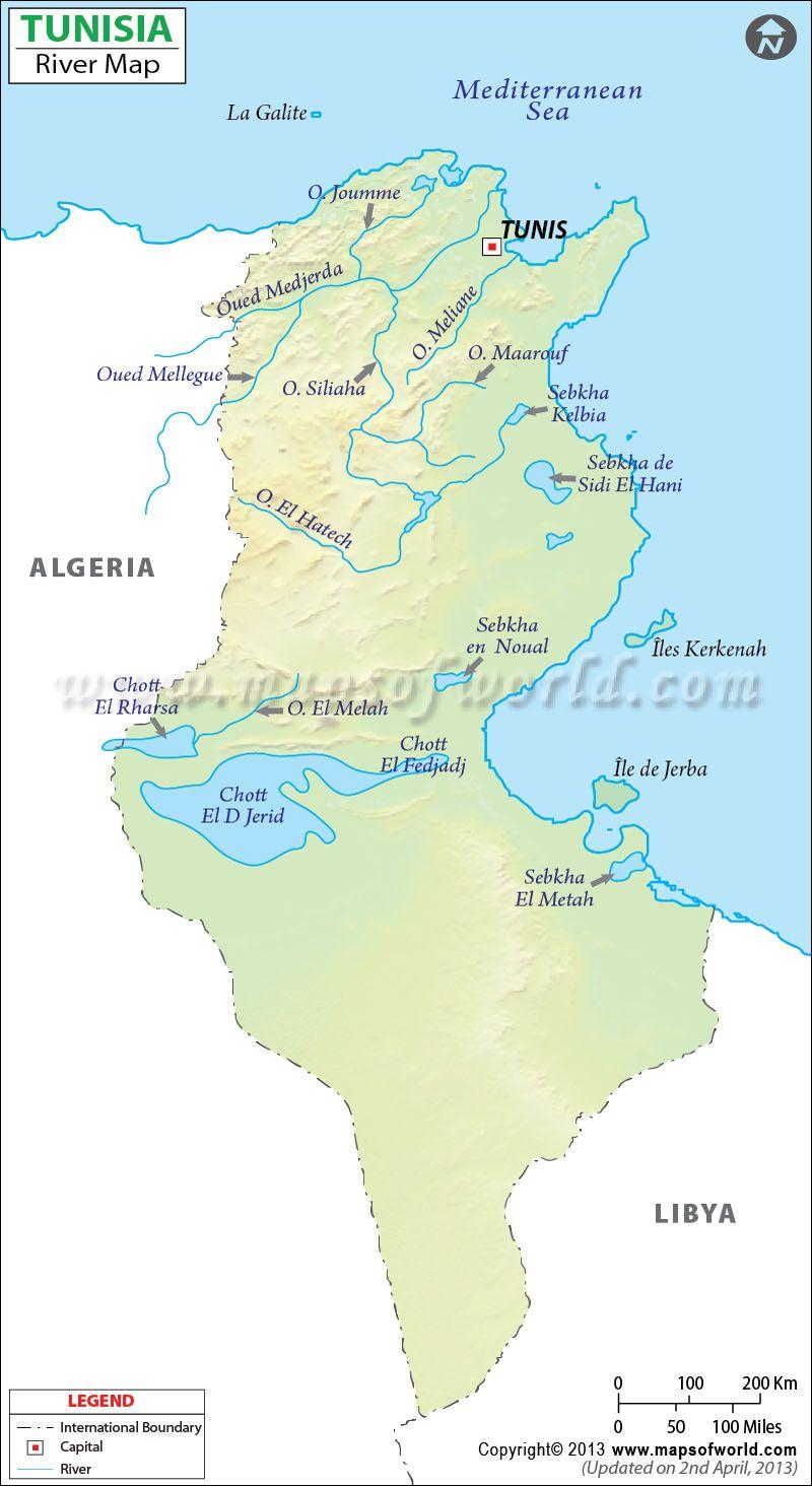 Tunisia River Map World Africa Pinterest Rivers Africa - World map of rivers in africa