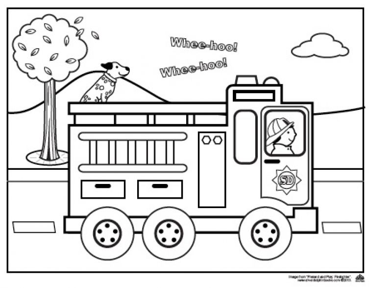 Fire Truck Coloring Page For Preschoolers Truck Coloring Pages