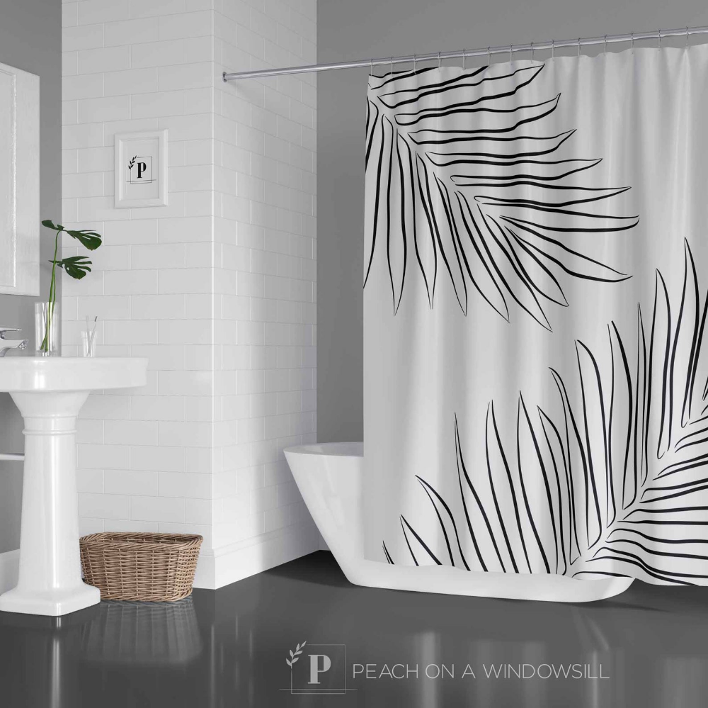 Tropical Palm Leaves Shower Curtain Black And White Botanical