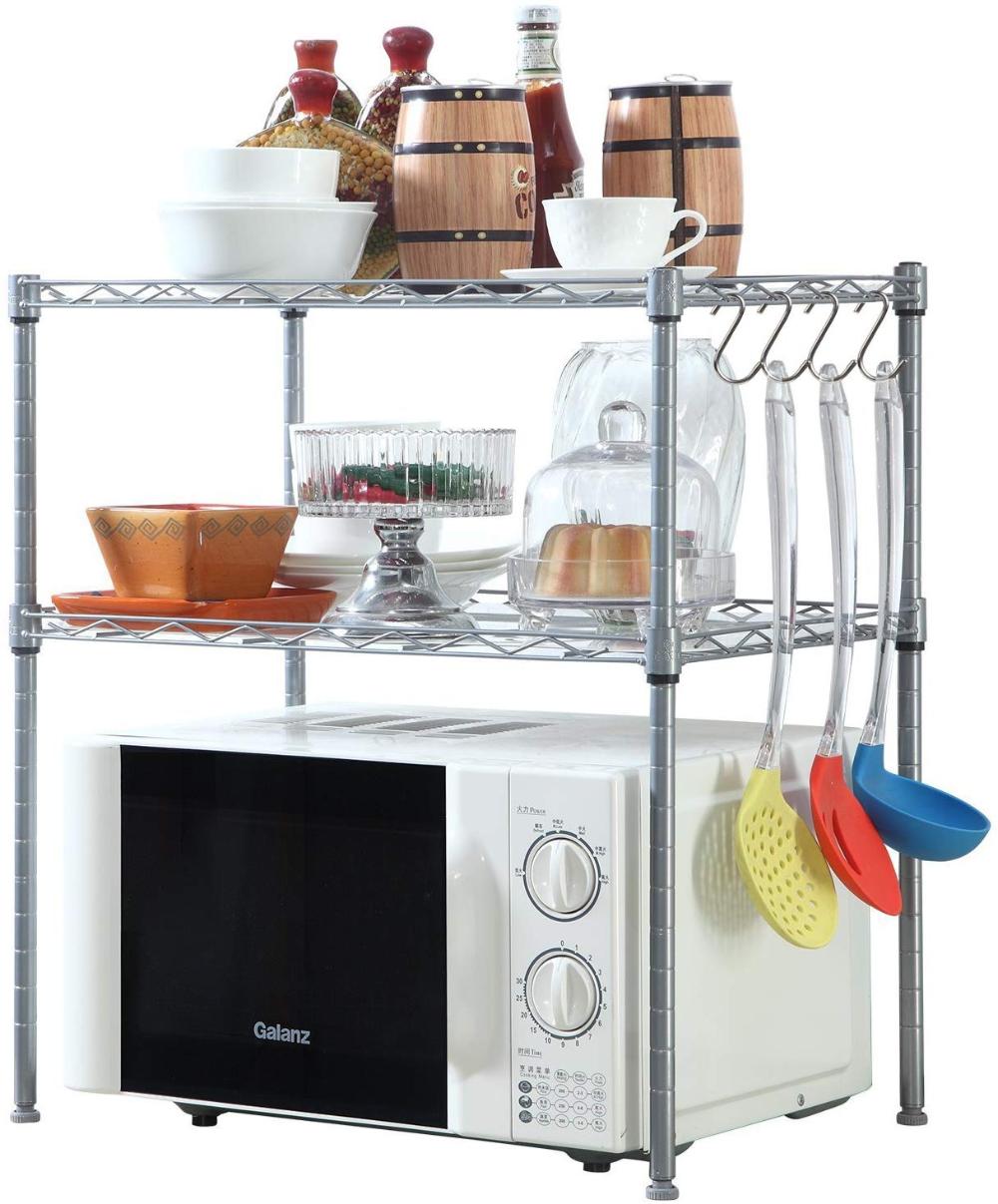 Amazon Com Homfa Kitchen Microwave Oven Rack Shelving Unit 2 Tier Adjustable Stainless Kitchen Storage Shelves Kitchen Shelving Units Kitchen Counter Storage