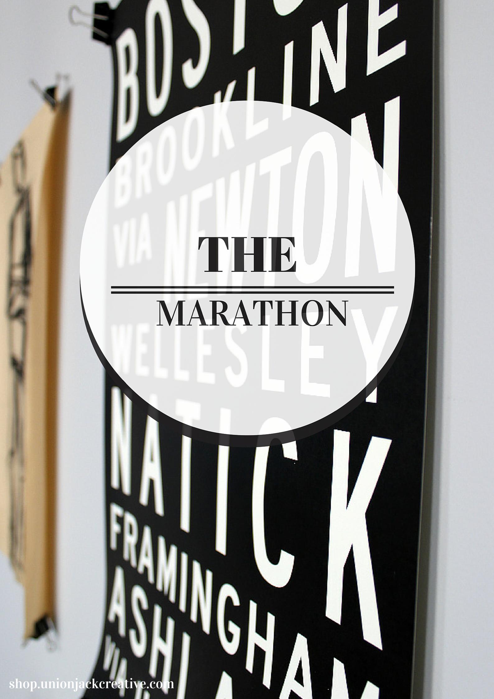#boston #marathon #poster // union jack creative http://shop.unionjackcreative.com  #bostonmarathon #hopkinton #black #white #train #bus #helvetica #design #type #print