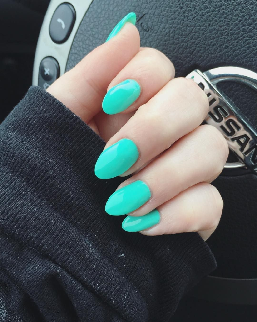 Fashion week Acrylic Turquoise nails for woman