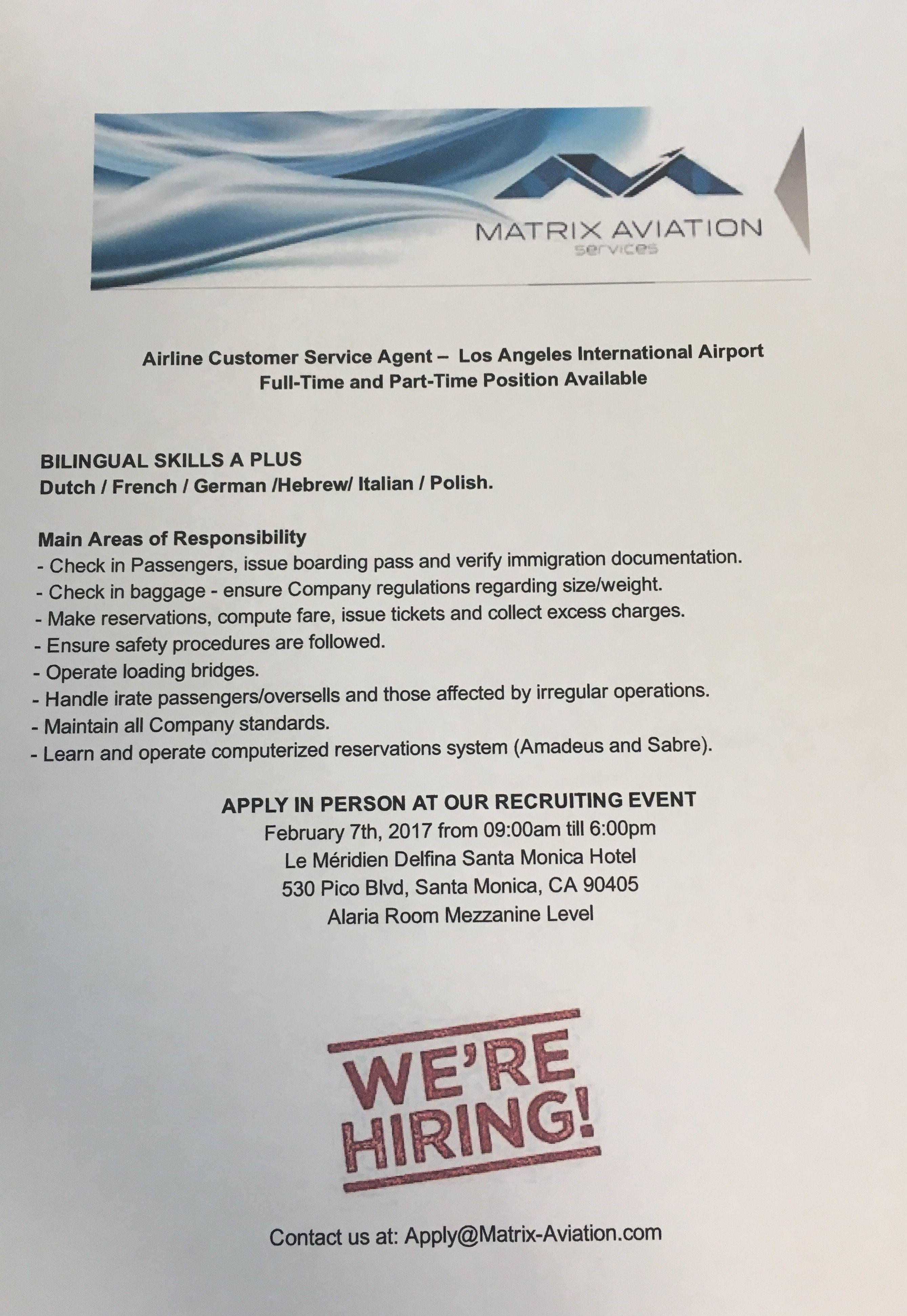 Pin by Matrix Aviation Services  Inc  on Jobs | Company
