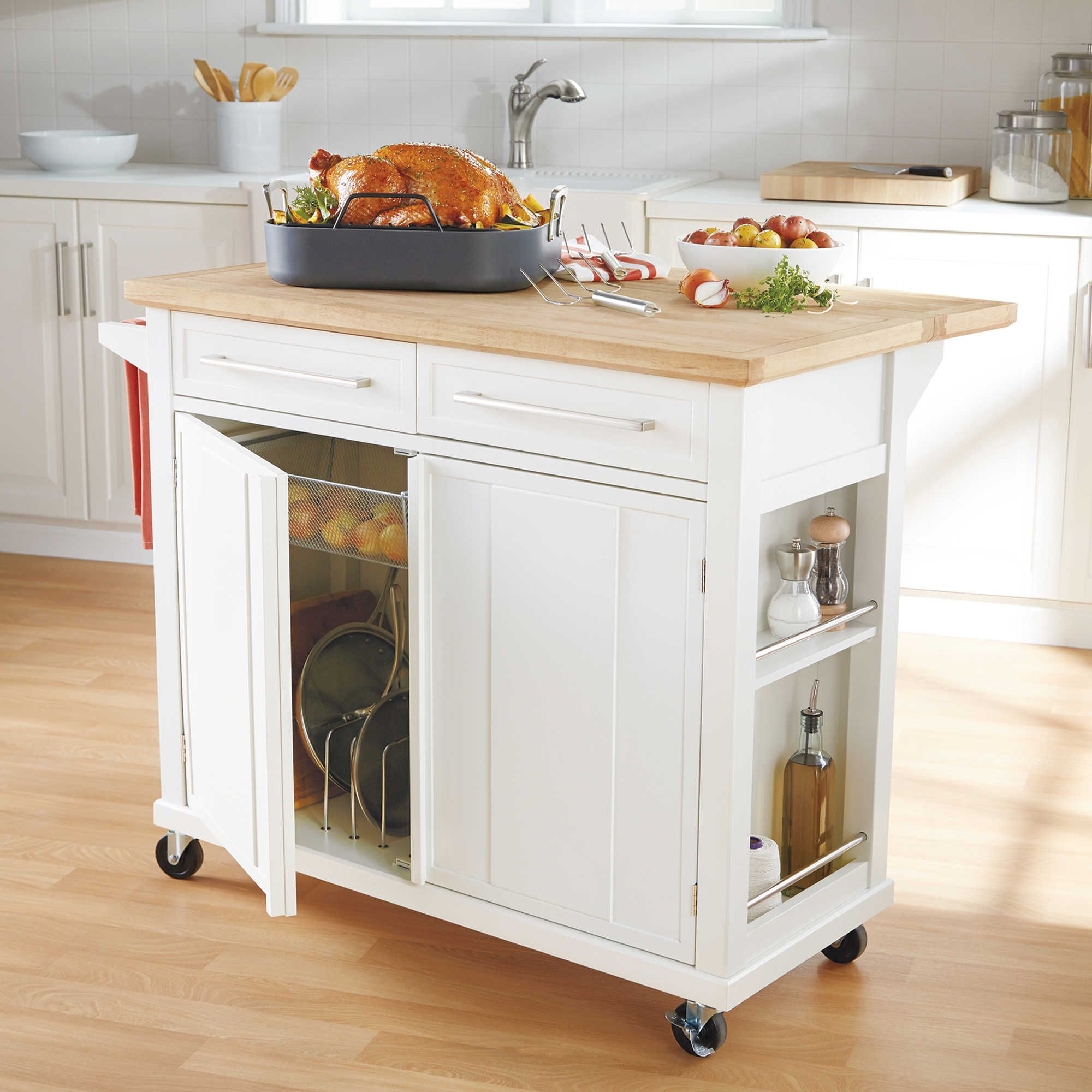 Real simple rolling kitchen island in white 300 bed bath beyond