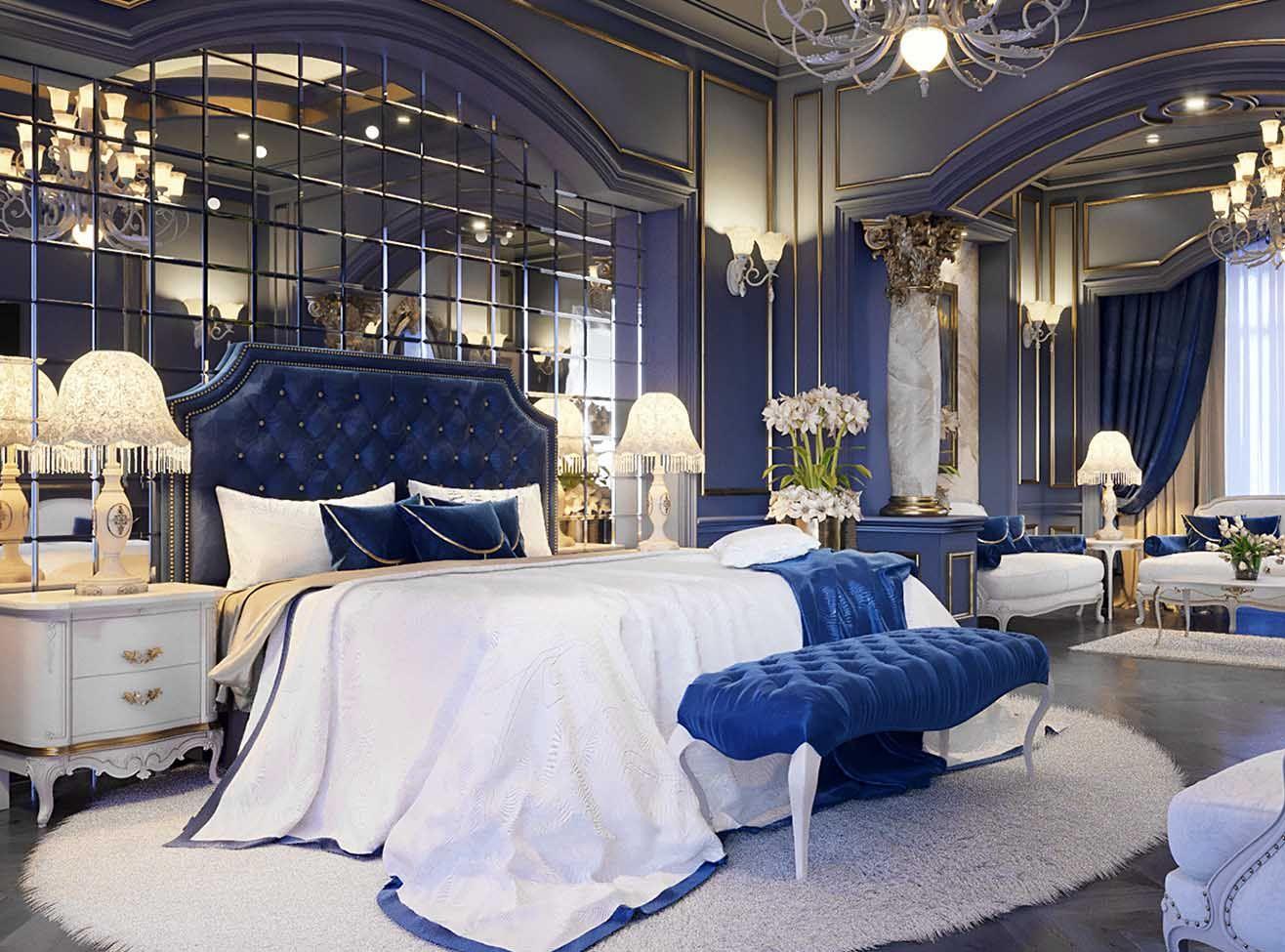 Luxury Royal Blue Bedroom Decor With Art Deco Style Blue Velvet