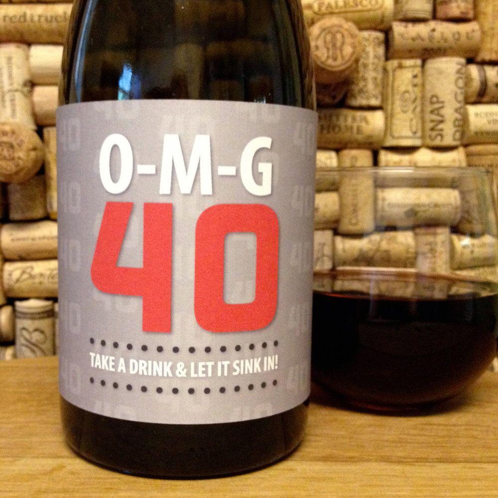 40th Birthday O M G 40 Printable Birthday Wine Label Instant Download Pdf Wine Label Printable Wine Birthday Gift Ideas Wine Label