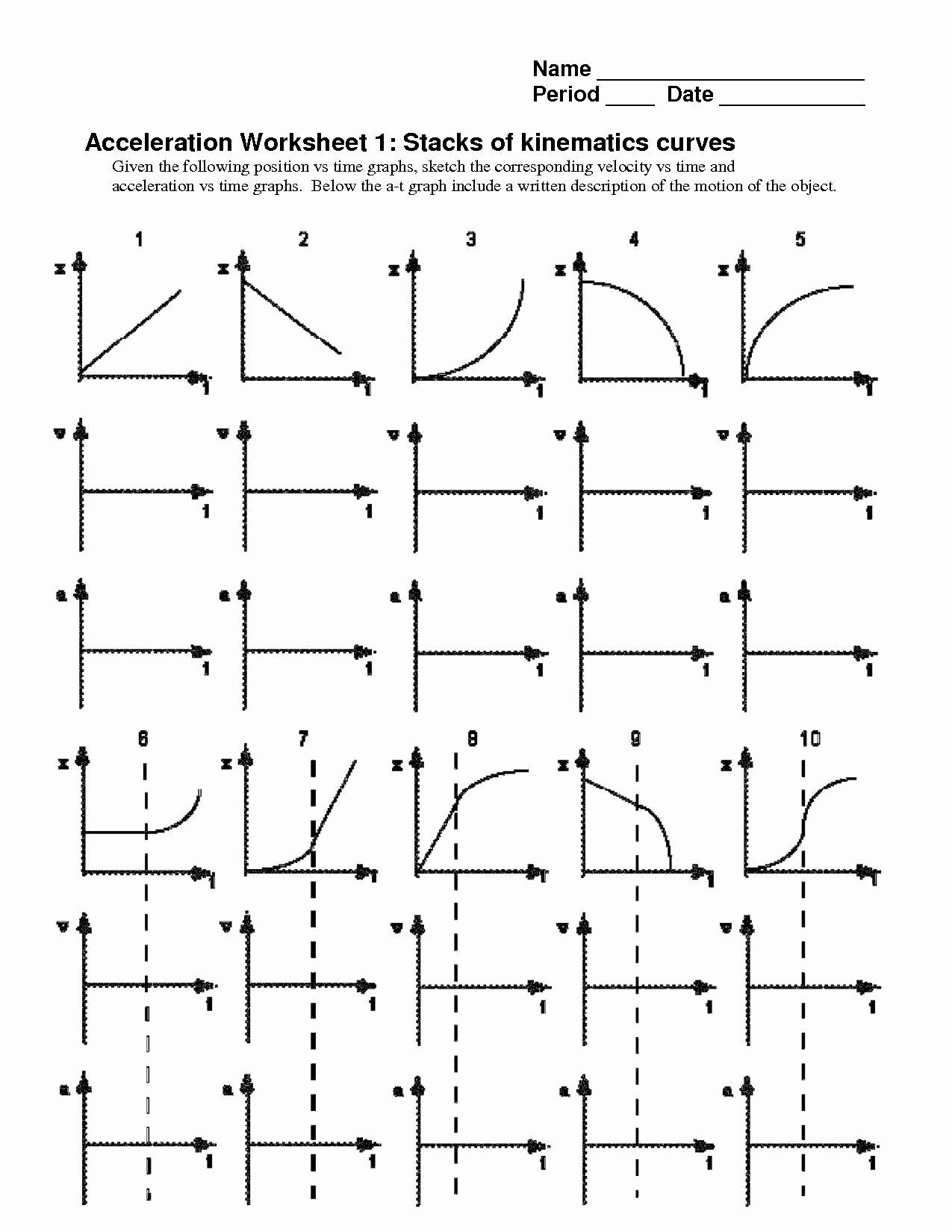 Motion Graphs Worksheet Answer Key Inspirational