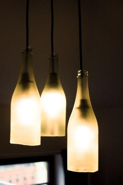 lampe aus sektflaschen anleitung zum nachbauen lampen. Black Bedroom Furniture Sets. Home Design Ideas
