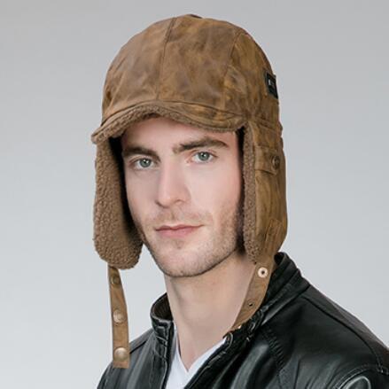 5c104ba2de4 Outdoor russian ushanka hat with ear flaps mens warm aviator winter bomber  hat