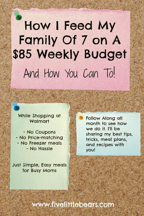 how i feed my family of 7 on a 85 week budget from walmart saving