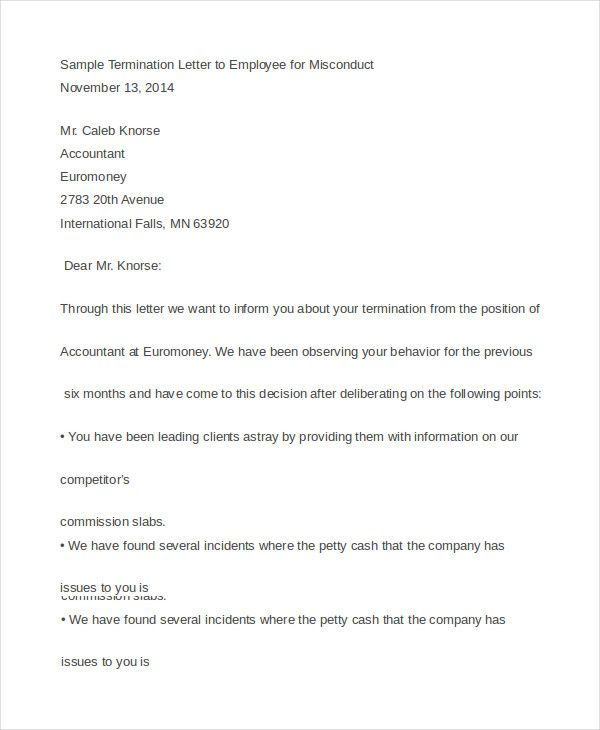 employee termination letter free amp premium templates sample - employee termination letters