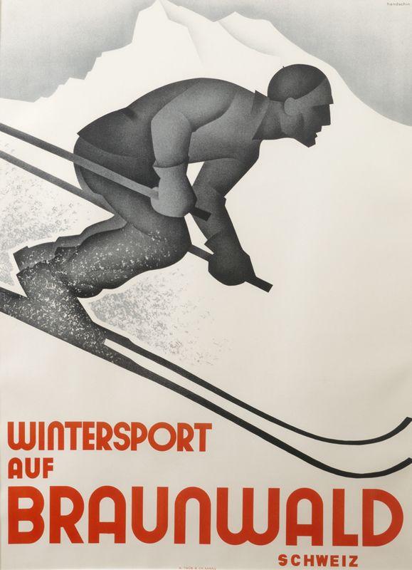 Wintersport auf Braunwald Schweiz by Handschin, Johannes | Vintage Posters at International Poster Gallery