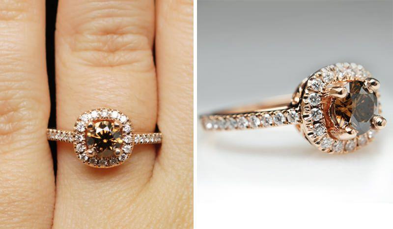 8fffeb07eb5 14 anéis de noivado com diamante cognac para você se inspirar - eNoivado