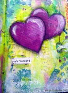 Courage Art Journal Page Malerier Baggrundsbilleder Kreativ