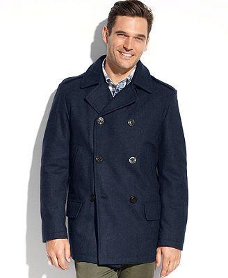 Nautica Mens Big /& Tall Wool-Blend Peacoat