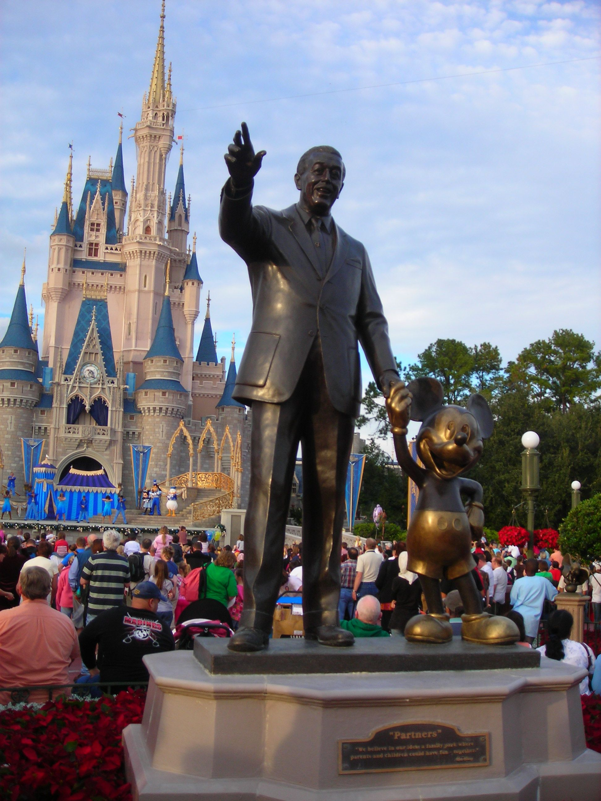 Walt Disney And Mickey Mouse Statue In Front Of Castle Magic