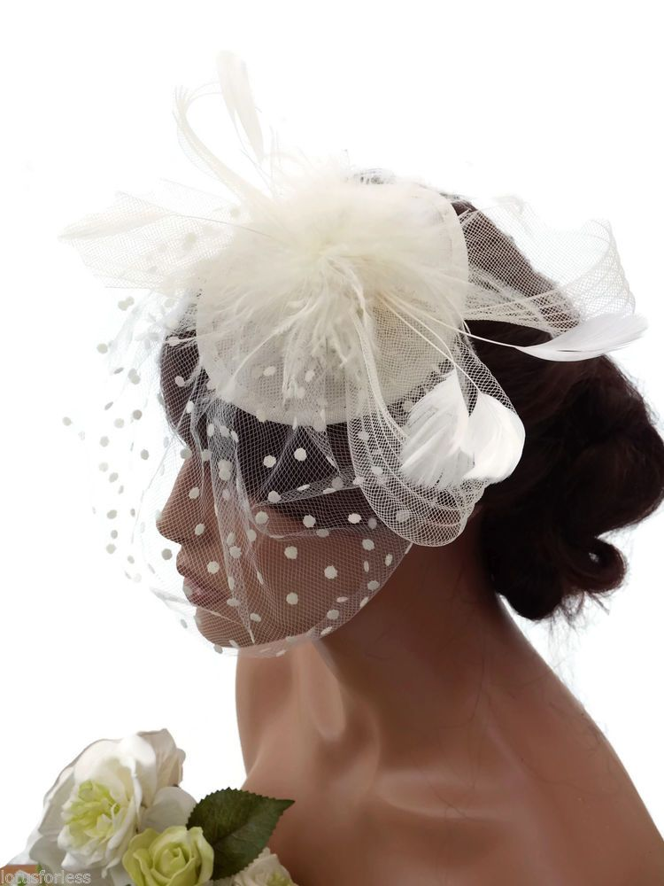 e3a314cf5ad23 Details about Stunning Cream Spotty Net Bow Feather Hat Fascinator ...