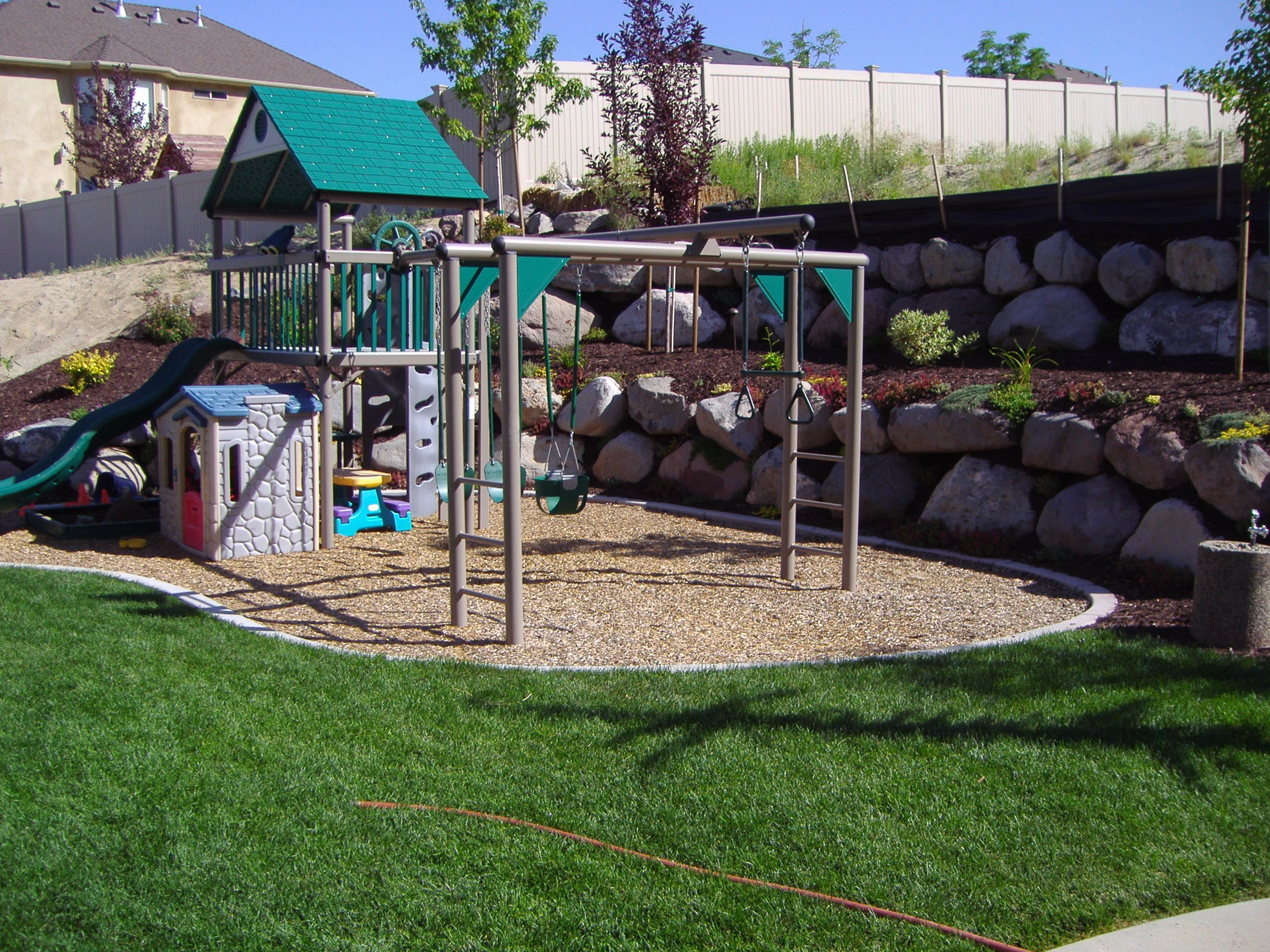 kid friendly play areas with water features putting greens and design - Garden Design Children S Play Area