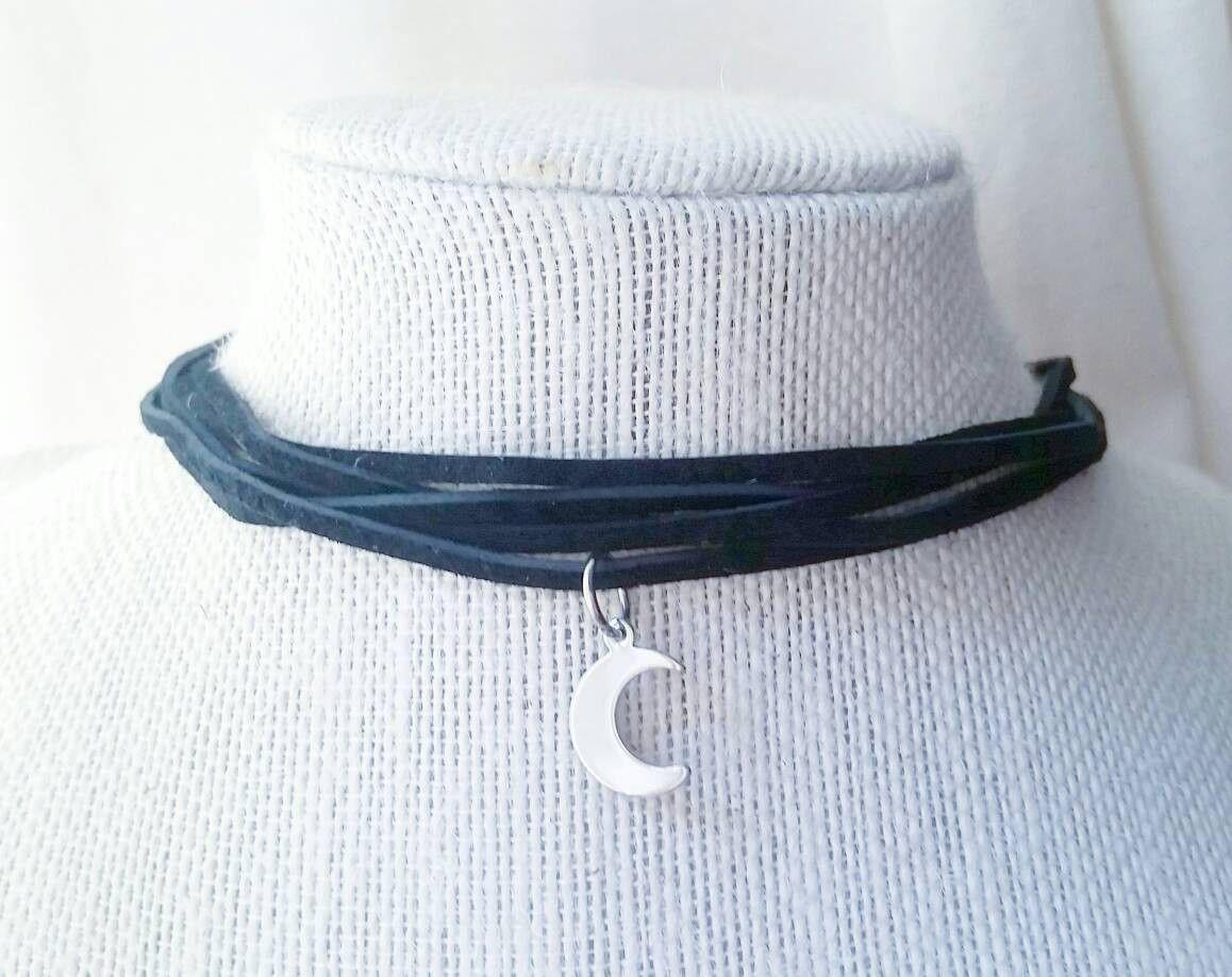 Moon charm boho leather choker necklace