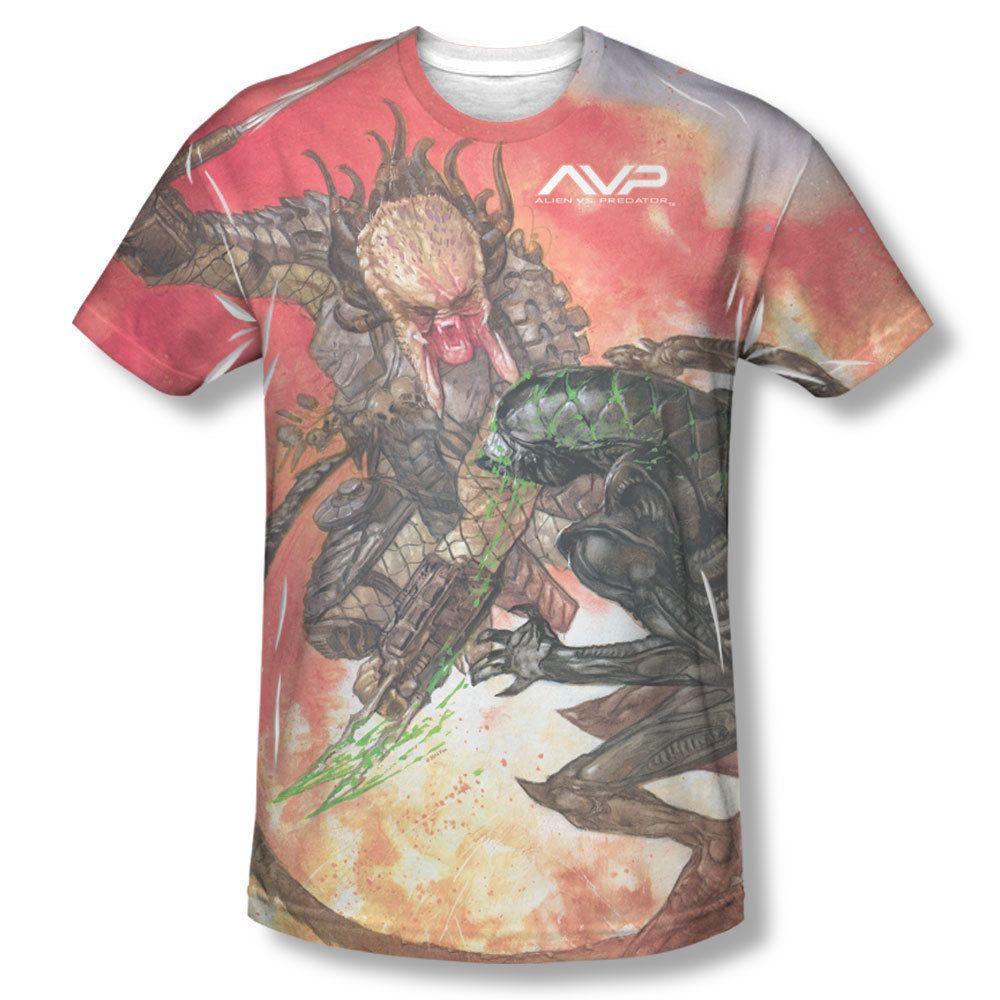 431fe36a Alien V.S. Predator Brutal Battle Drawing Picture All Over Front Men T-shirt  top Mens Sizes: S, M, L, XL, 2XL