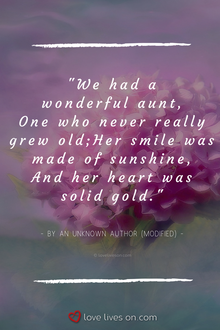 50+ Funeral Poems for a Wonderful Aunt | Birthday quotes for ...