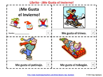 spanish me gusta el invierno booklets i like winter booklets emergent readers spanish and texts. Black Bedroom Furniture Sets. Home Design Ideas