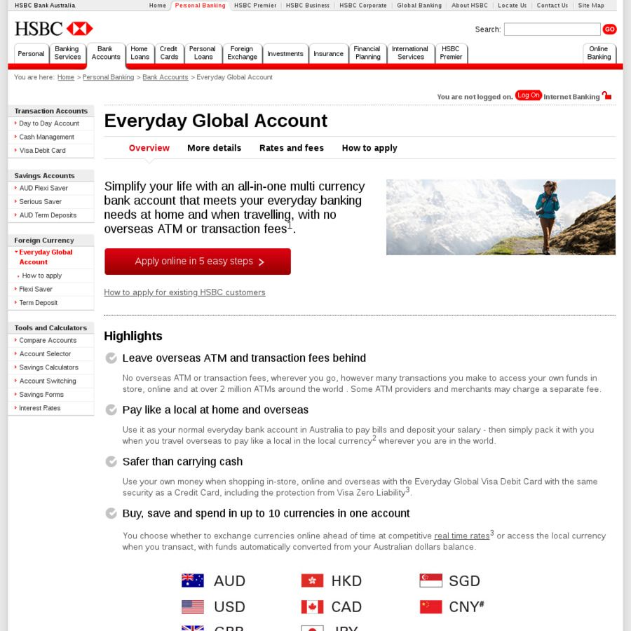 HSBC - New Everyday Global Account Perfect for Travellers / Multiple