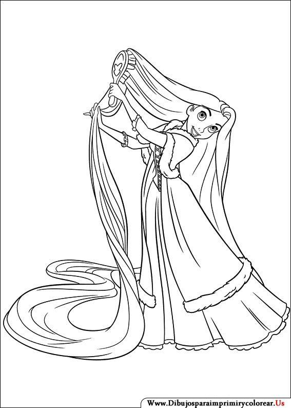 Dibujos de Enredados para Imprimir y Colorear  Rapunzel  Pinterest