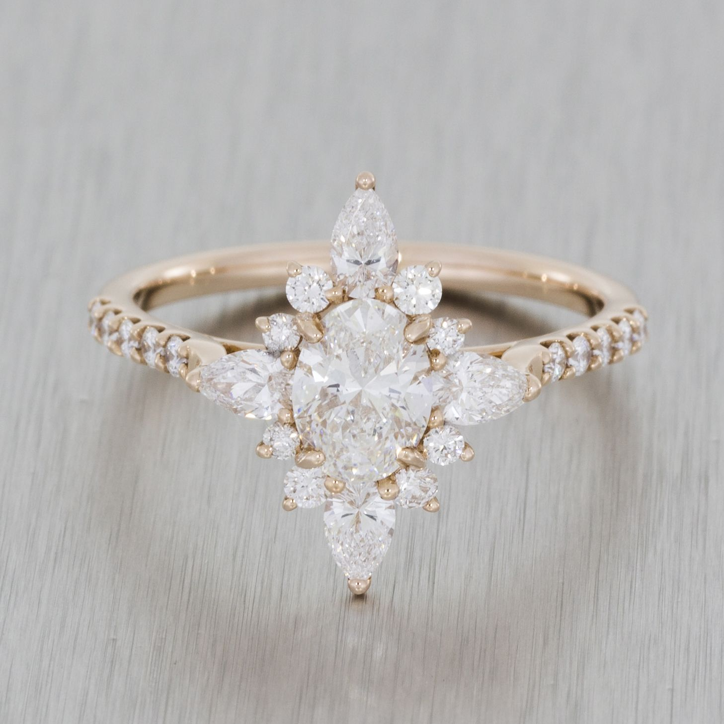 rose gold vintage ballerina engagement ring. marquise oval diamond