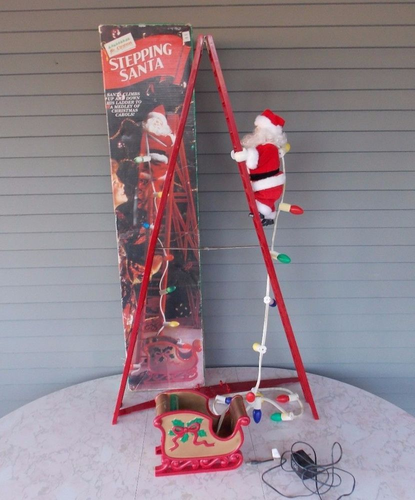 1994 Stepping Santa Claus Climbing Ladder Mr. Christmas Animated Decoration #MrChristmas | Mr Christmas, Christmas Garden Decorations, Fiber Optic Christmas Tree