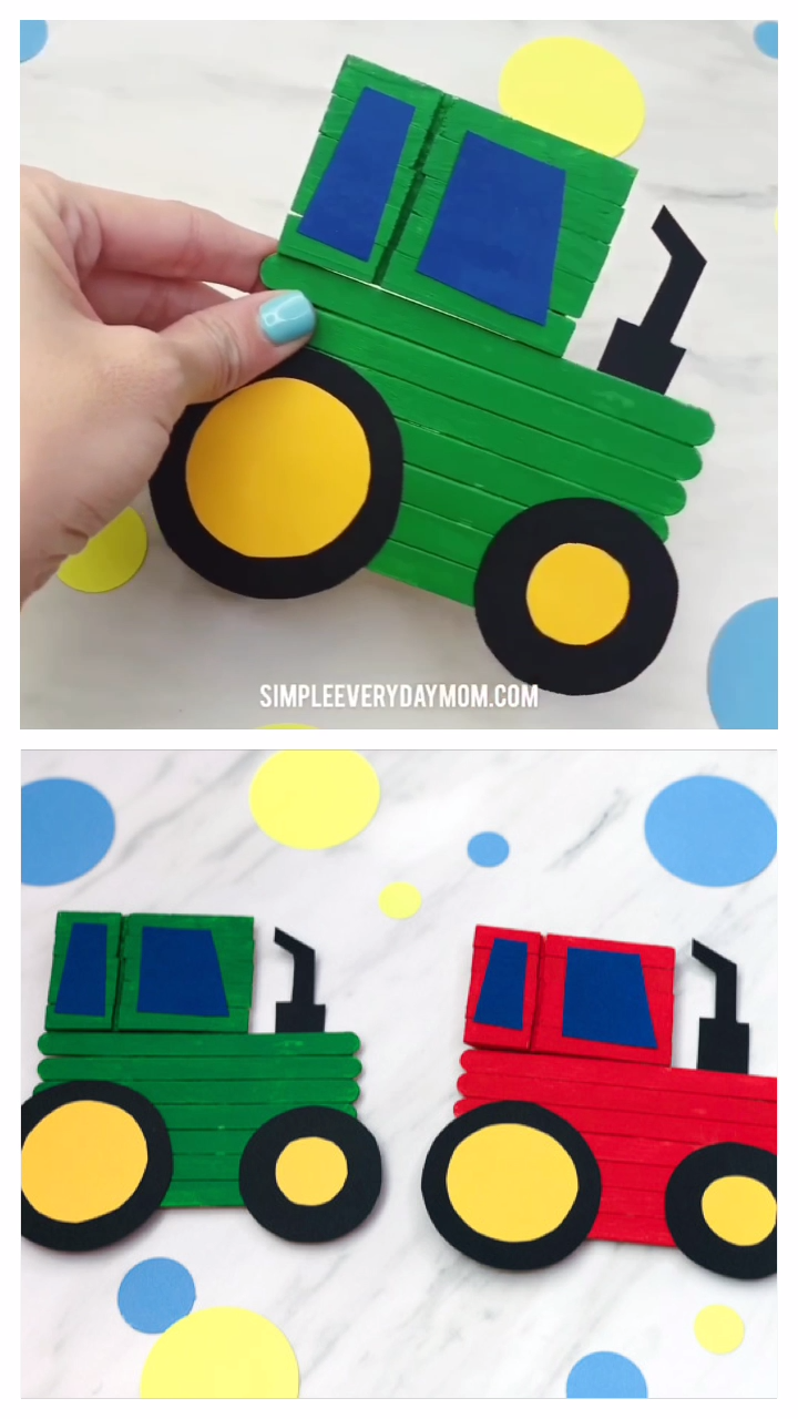 Learn how to make this fun tractor craft from popsicle sticks, glue and paint. It's a fun art project for