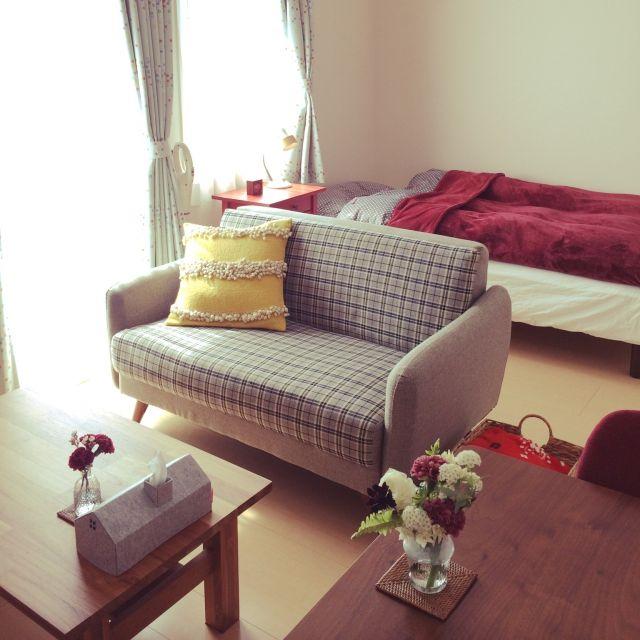一人暮らしのインテリアとコーディネートの決め方: 部屋全体/一人暮らし/北欧/シンプル/花のある暮らし/ソファ