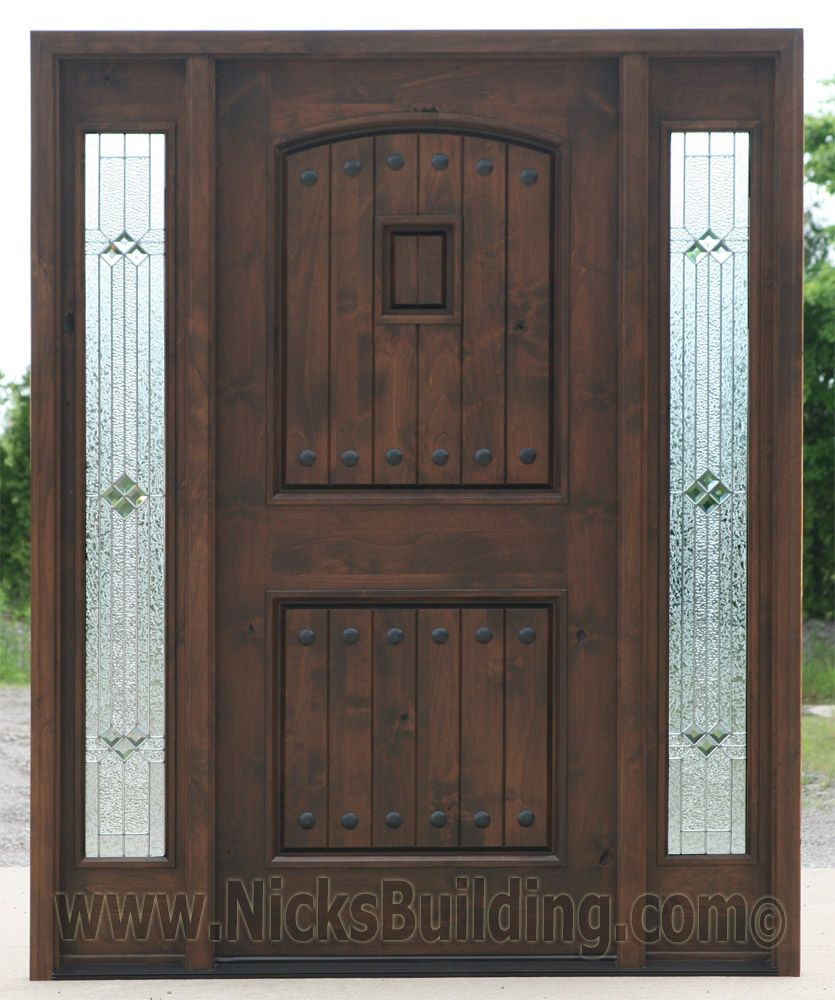 Black walnut wood stain color knotty alder doors with for Black wooden front door