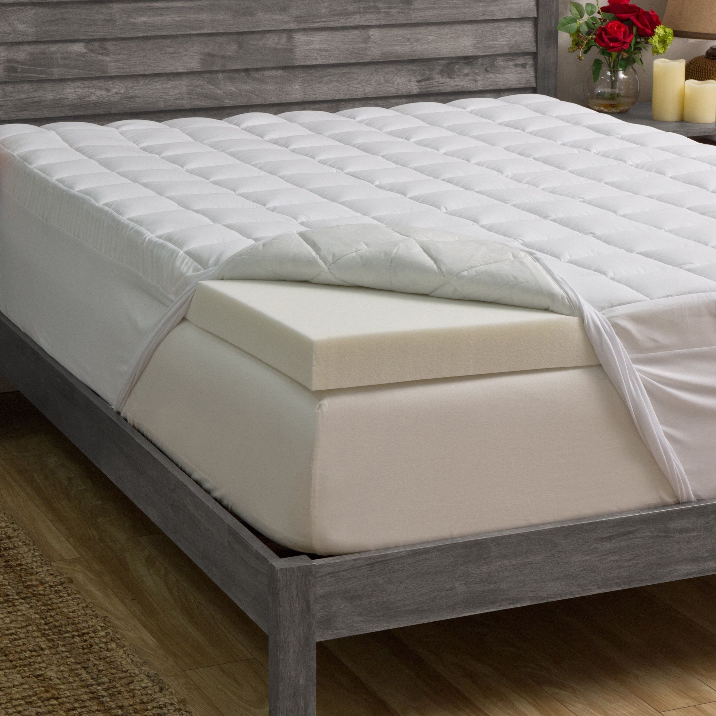 Grande Hotel Collection 1 5 Inch Fiber And 4 Inch Memory Foam Mattress Topper Memory Foam Mattress Topper Mattress Foam Mattress