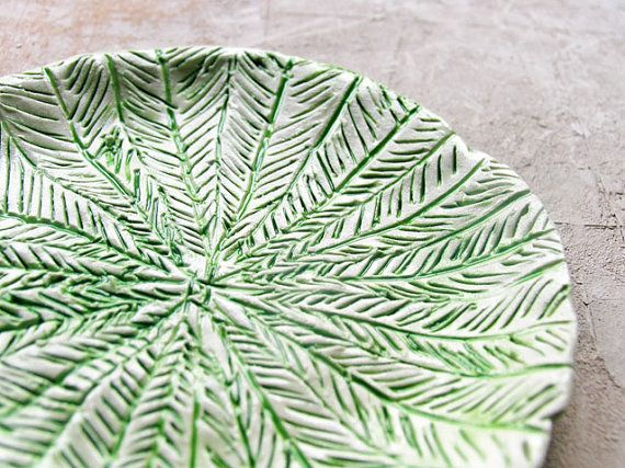 Green ceramic plate hand textured plate by azulado on Etsy, $29.50