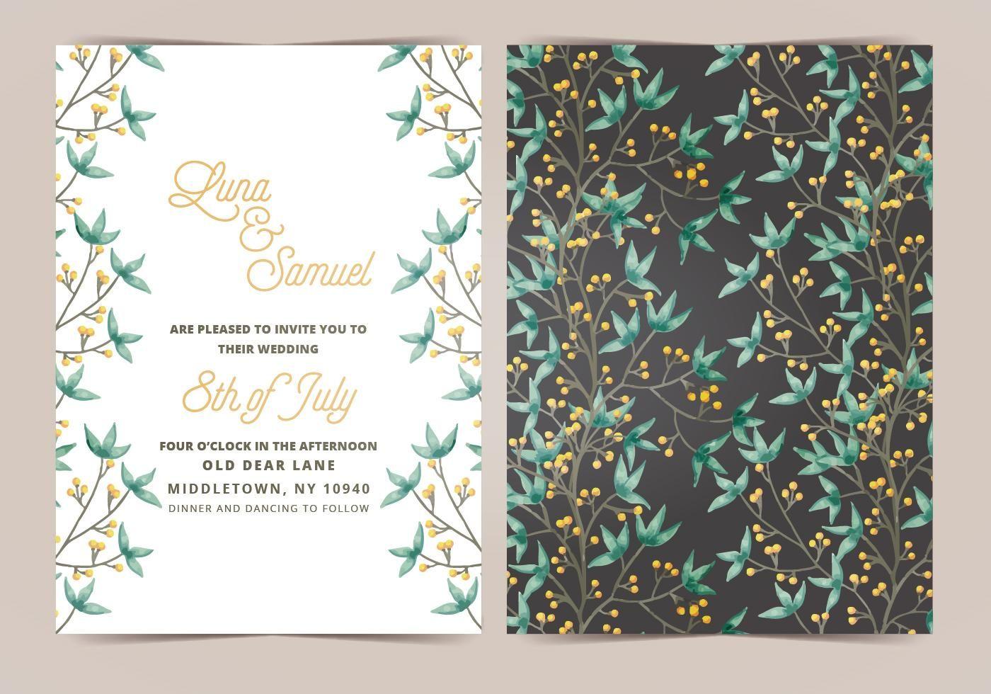 wedding card backgrounds vectors%0A Boho Wedding Vector Wedding Invitation