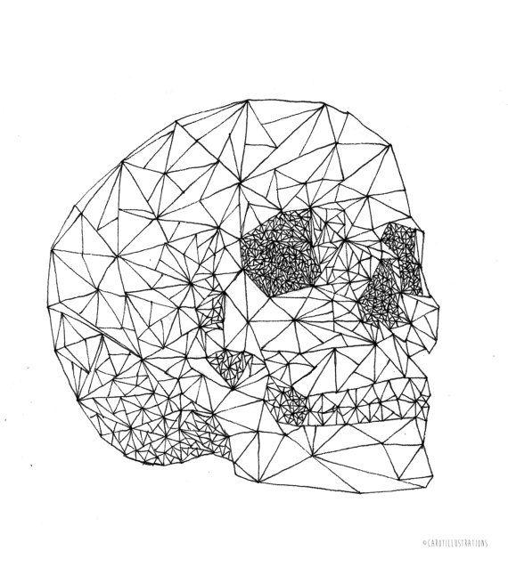 Skull geometric drawing • Wall Art (14.8 x 21.0 cm, 5.8 x