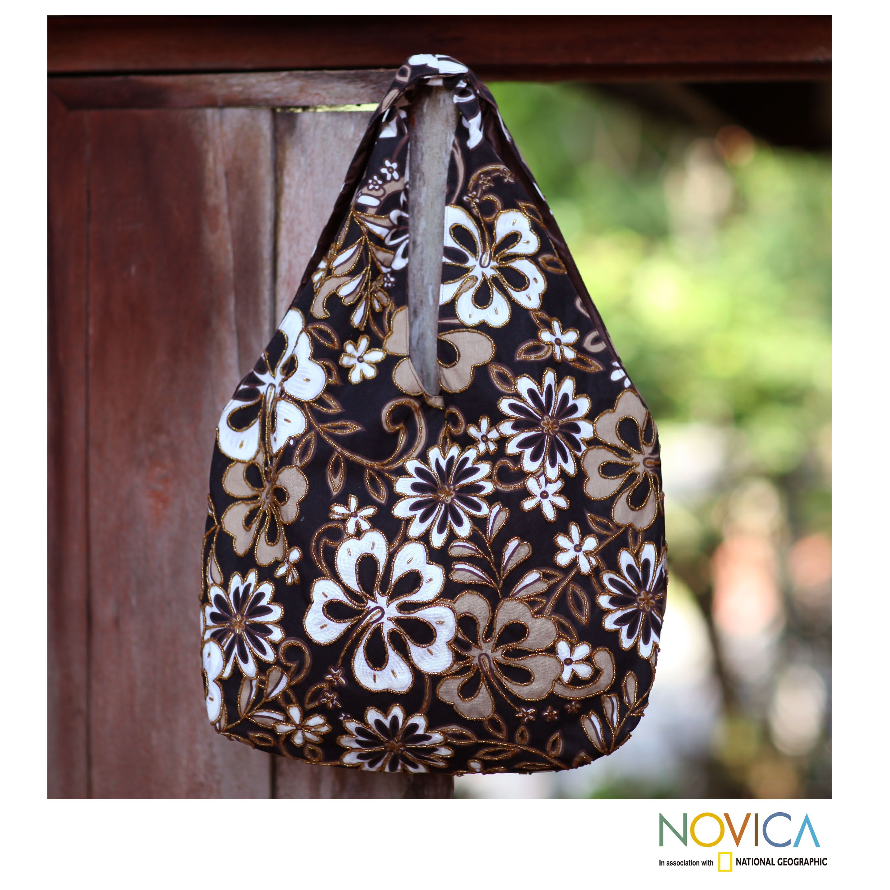 Novica Cotton beaded shoulder bag, Tropical Bouquet - Hand Made Floral Beaded Shoulder Bag