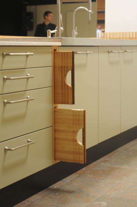 Check out how these cutting boards fit in this kitchen for Diy cutting board storage