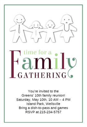 Time For A Family Gathering Printable Invitation Template