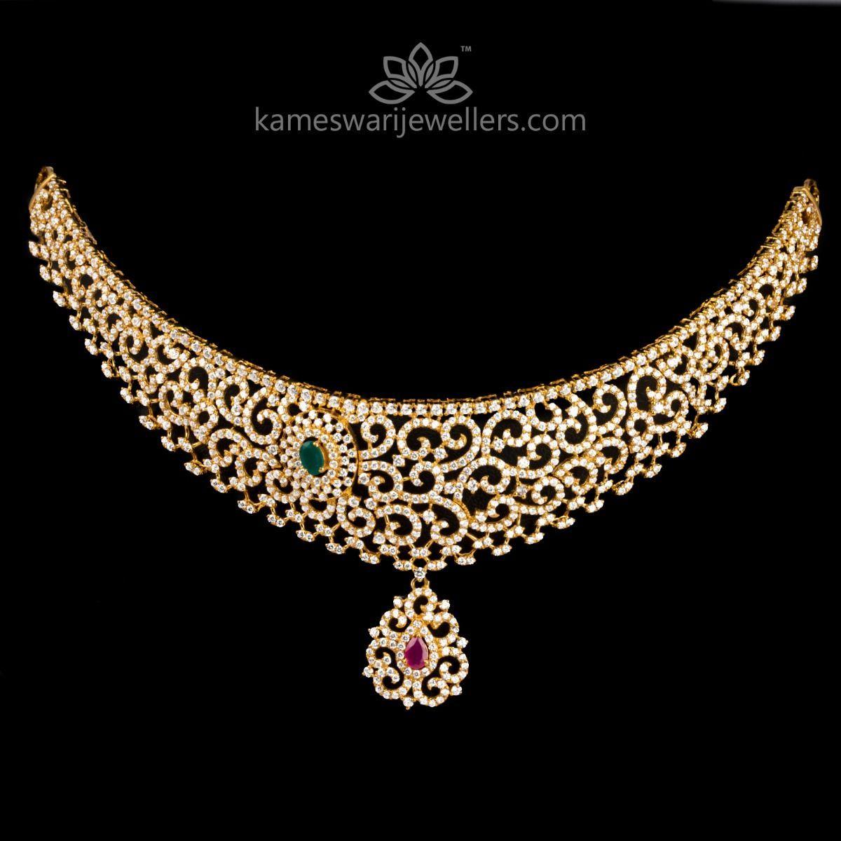Buy Necklaces Online Flexible Cz Choker From Kameswari Jewellers We Ship Across India And U Necklace Online Diamond Necklace Designs Jewelry Collection