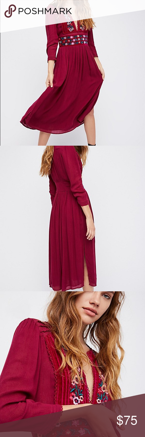 6a6fa7d4ee83 Free People Embroidered Midi dress Gorgeous dress. Color is raspberry. Last  pic is wrestler Brie Bella. Free People Dresses